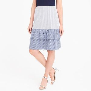 J.Crew Factory stripe tiered ruffle midi skirt NWT